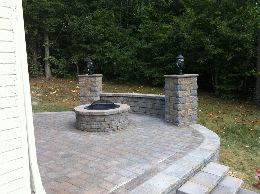 finished patio and firepit | LawnArtists